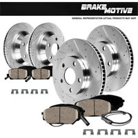 Front+Rear Drill Slot Brake Rotors and Ceramic Pads For 2001 - 2006 Lexus LS430