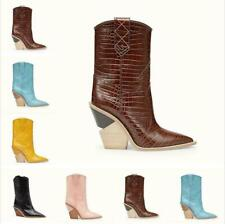 Women Mid Calf Cowboy Boots Leather Chunky Heels Pointy Toe Stage T Show Shoes