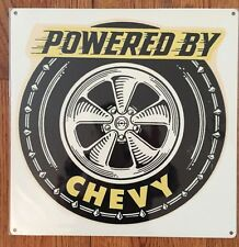 Powered by Chevy Chevrolet Power Garage Hot Rod Racing Vintage Poster Metal Sign