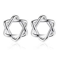 925 Sterling Silver Star Stud Earrings Women Jewelry Xmas Gift