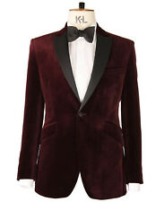 Men Burgundy Smoking Jacket 1 Button Luxury Designer Party Wear Blazers Coat