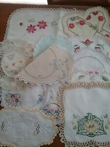 LOT OF 12 VINTAGE EMBROIDERED DOILIES