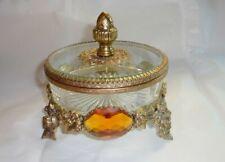 Vintage Rococo Style Jeweled Gilt Metal Ormolu Covered Dresser Vanity Box