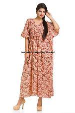 Women Cotton Paisley Indian Baggy Casual Kaftan Loose Maxi Long Tunic Dress Gown