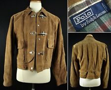 Rare Vintage Polo Ralph Lauren Leather Suede Fireman Jacket sz fits 40-42