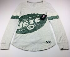 $48 Nike Women Size Large New York Jets Long Sleeve Shirt White Green NFL NWT