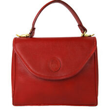 Vintage MARK CROSS Red Pebbled Leather Murphy Satchel Top Handle Handbag