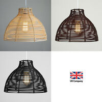 Modern Round Rattan / Wicker Style Ceiling Pendant Light Lamp Shades Lampshades