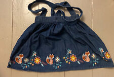 Age 3-4 Denim Dungaree Dress Pinafore Embroidery