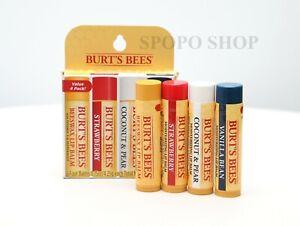 Burts's Bees Moistrurizing Lip Balm Pack of 4 Beeswax Strawberry Coconut Vanilla