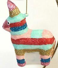 Pier 1 Glitter Donkey Glass Christmas Ornament