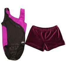 GK Elite Gymnastics Leotard + Velvet Bar Shorts Size Adult Large Purple Black AL