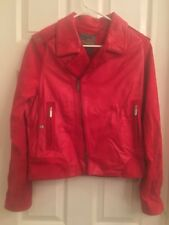 NEW ZAC POSEN for Target Soft Red Leather Moto Jacket Size XL COTTON