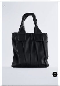 ZARA PLEATED  TOTE BAG black new WITH TAGS