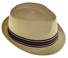 Braided Toyo Fedora Straw Hat with Black Gray Red Band-natural-large
