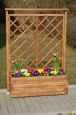 Holz Blumenkasten, Pflanzkasten mit Rankgitter geölt im FarbtonTeak