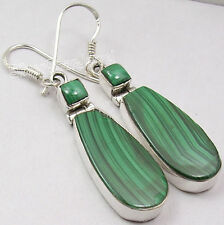 """925 SOLID Silver Beautiful MALACHITE 2 STONE HANDCRAFTED Earrings 1 7/8"""""""
