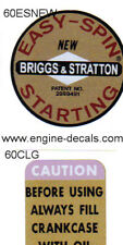 Briggs & Stratton Early style Easy Spin New & Caution decal 1960's