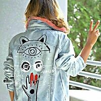 ZARA Blue Cotton Denim Jacket With Graffiti Faux Fur Collar Woman BNWT 6045/247
