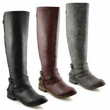 bb8bc87e810 Ladies Womens Knee High Flat Heel Wide Calf Zip Up Riding Biker Boots Shoes  Size