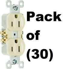 30 ea Pass & Seymour Standard 3 Wire 15A 125V 2 Pole UL Ivory Duplex Outlets