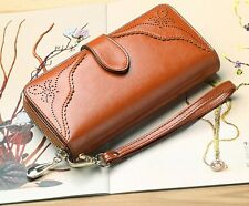 Women Wallets Brown Leather Long Zipper Wristlet Purse