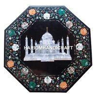 18'' Marble Coffee Table Top Taj Mahal Floral Inlaid Mosaic Outdoor Decor H1722