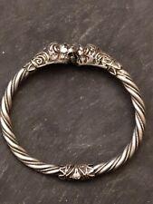 Bracelet Argent massif Ethnique tête de lion XIXème ancien , 22 gr