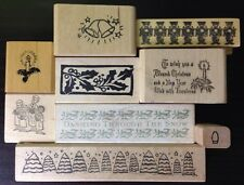 Lot of 9 Christmas Rubber Stamps Rubbermoon Affair Tree Candle Bells Ornament