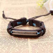 Alloy Where There Is A Will There Is A Way Fashion Unisex Leather Bracelet Gifts