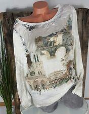 NEU ITALY SEIDEN BLUSE SHIRT VINTAGE CITY PHOTO PRINT METALLIC CREME 38 - 42