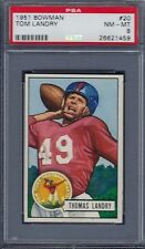 1951 BOWMAN NO. 20 TOM LANDRY ROOKIE CARD (HOF) PSA 8 NEAR MINT/MINT