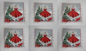 PACK 2 RED CHRISTMAS DRESS TOPPERS FOR CARDS AND CARDS  2 THEMES