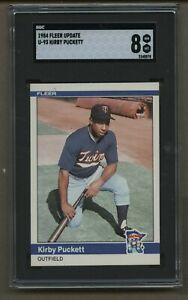 1984 Fleer Update #93 Kirby Puckett Rookie Baseball Card SGC 8 NM-MT