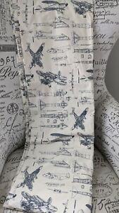 Restoration Hardware Baby Child Curtain 50X96 Vintage Airplanes Blueprint NWOT