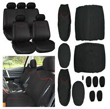 Universal Car Seat Cover Full Set  Seat Covers Low Front Back Set Black Red Edge