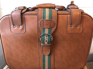 Fab Retro 1970s Vintage RJW Suitcase Soft Shell Leather Look Brown GC