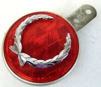 """Vintage 3"""" Red Sate Lite 30 Pm473 GM Cadillac Laurel Leaf Emblem Reflector"""