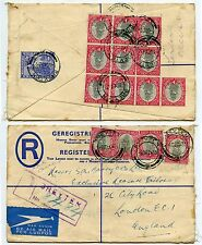 SOUTH AFRICA REGISTERED STATIONERY 1935 UPRATED BLOCK..14 ships +BREYTEN AIRMAIL