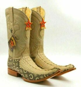Los Altos Boots Men 6X Caiman Tail Stitching Cowboy Boots Size US 8EE Oryx Arena