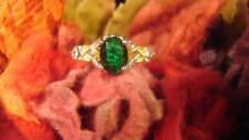 ~BEAUTIFUL GREEN EMERALD & CRYSTAL EARTH RING~SIZE 6 1/4~