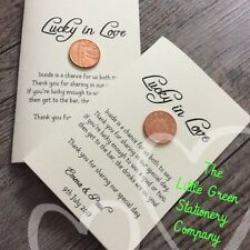 15 Pack Ivory Personalised Lucky Penny Lottery Scratch Card Holder Favours