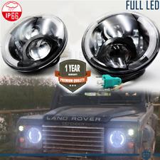 """Coppia FARI 7"""" Anteriori FULL LED PER Land Rover Defender 6500K DRL GHIACCIO"""