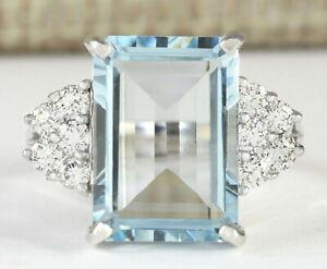 6.32 Carat Natural Aquamarine 14K White Gold Diamond Ring