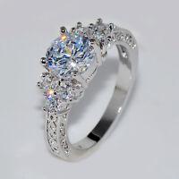 5.80/ct Lab diamond White Sapphire Wedding Ring 10KT White Gold Jewelry Size4-12