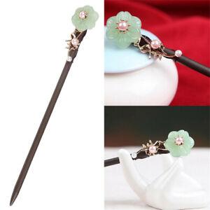 Vintage Chinese Flower Pearl Wooden Hair Chopsticks Stick Hairpin Chignon Pin