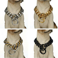 """Pet Dog Stainless Steel 12/15/17/19mm Curb Link Chain Dog Collar Choker 12''-36"""""""