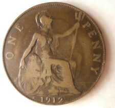 1912 H GREAT BRITAIN PENNY - Great Coin - Free Ship - Premium Vintage Bin #15