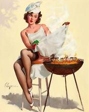 PIN UP, VINTAGE, WOMAN, BARBEQUE ON FIRE, FRIDGE MAGNET