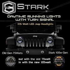 "2x 7"" 105W LED Osram Headlight Hi/Lo Beam Switchback 97-16 Wrangler JK TJ"